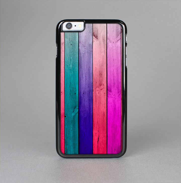 The Vibrant Neon Colored Wood Strips Skin-Sert Case for the Apple iPhone 6 Plus