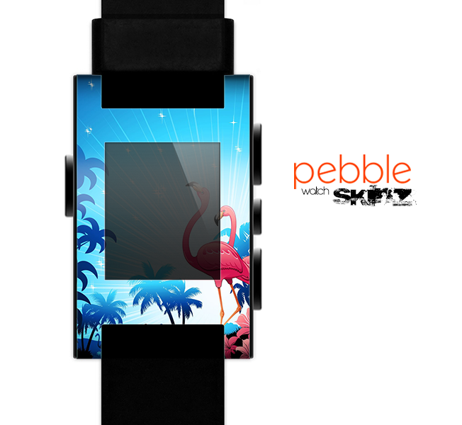 The Vibrant Flamingo Scenery Skin for the Pebble SmartWatch
