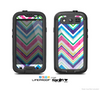 The Vibrant Pink & Blue Layered Chevron Pattern Skin For The Samsung Galaxy S3 LifeProof Case