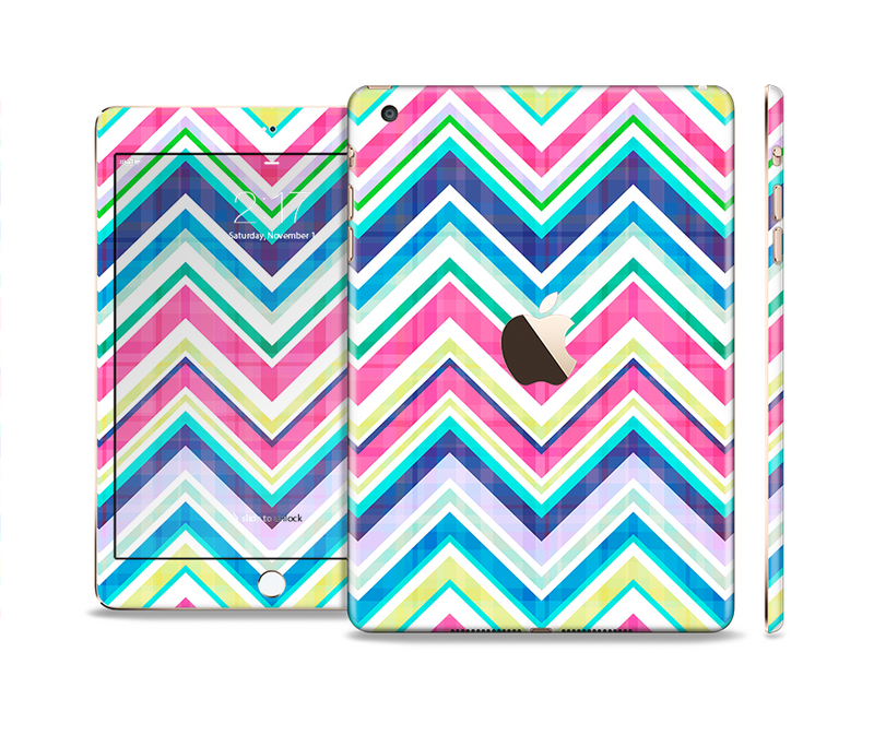 The Vibrant Pink & Blue Layered Chevron Pattern Full Body Skin Set for the Apple iPad Mini 3