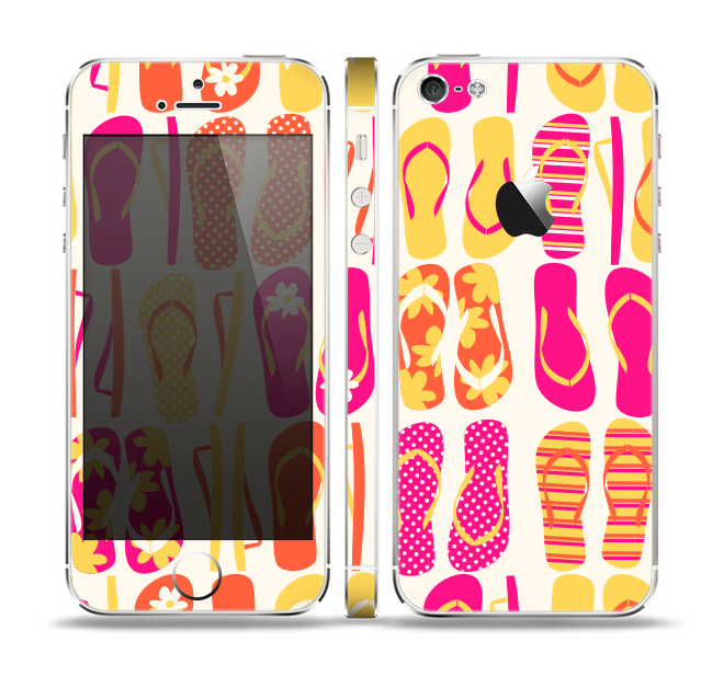 The Vibrant Pink & Yellow Flip-Flop Vector Skin Set for the Apple iPhone 5