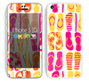 The Vibrant Pink & Yellow Flip-Flop Vector Skin for the Apple iPhone 5c