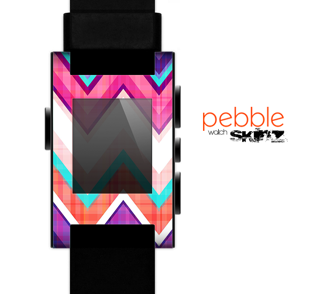 The Vibrant Pink & Blue Chevron Pattern Skin for the Pebble SmartWatch