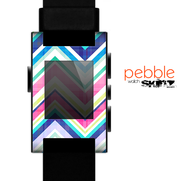 The Vibrant Pink & Blue Layered Chevron Pattern Skin for the Pebble SmartWatch