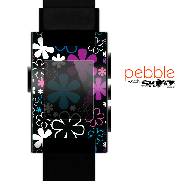 The Vibrant Pink & Blue Vector Floral Skin for the Pebble SmartWatch