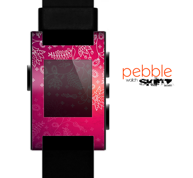 The Vibrant Pink & White Branch Illustration Skin for the Pebble SmartWatch
