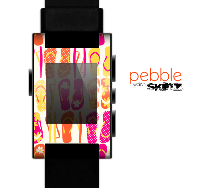 The Vibrant Pink & Yellow Flip-Flop Vector Skin for the Pebble SmartWatch