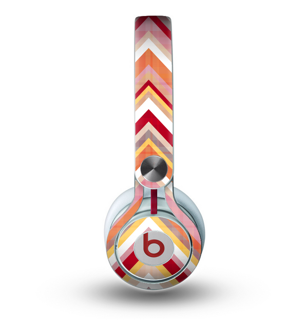 The Vibrant Red & Yellow Sharp Layered Chevron Pattern Skin for the Beats by Dre Mixr Headphones