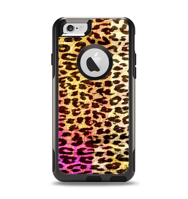 The Vibrant Striped Cheetah Animal Print Apple iPhone 6 Otterbox Commuter Case Skin Set