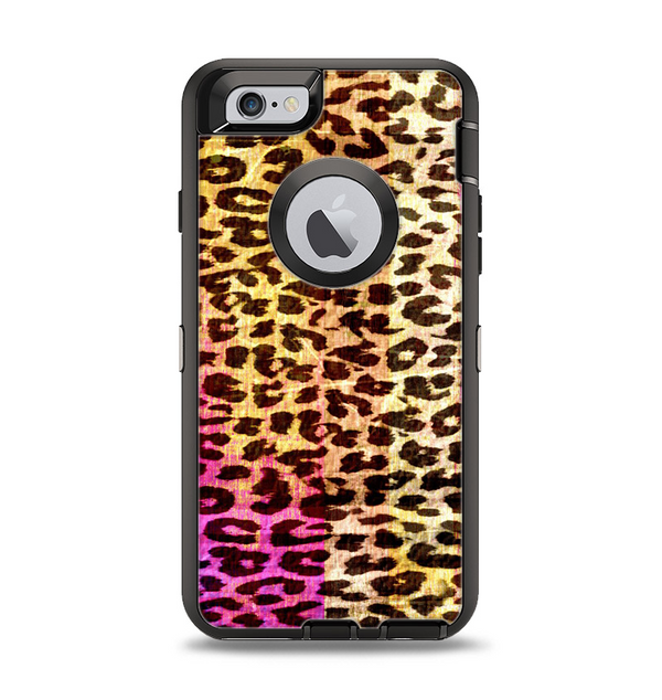 The Vibrant Striped Cheetah Animal Print Apple iPhone 6 Otterbox Defender Case Skin Set