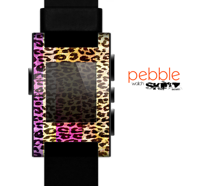 The Vibrant Striped Cheetah Animal Print Skin for the Pebble SmartWatch
