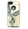 The Vibrant Tan & Blue Butterfly Outline Skin For The iPhone 5-5s Otterbox Commuter Case