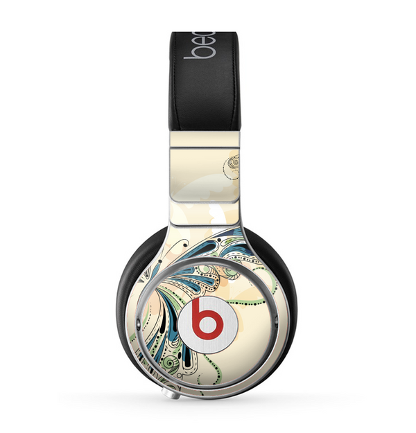 The Vibrant Tan & Blue Butterfly Outline Skin for the Beats by Dre Pro Headphones