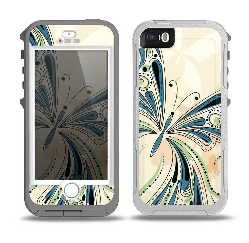 The Vibrant Tan & Blue Butterfly Outline Skin for the iPhone 5-5s OtterBox Preserver WaterProof Case