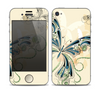 The Vibrant Tan & Blue Butterfly Outline copy Skin for the Apple iPhone 4-4s