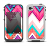 The Vibrant Teal & Colored Chevron Pattern V1 Apple iPhone 4-4s LifeProof Fre Case Skin Set