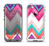 The Vibrant Teal & Colored Chevron Pattern V1 Apple iPhone 5-5s LifeProof Fre Case Skin Set