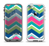 The Vibrant Teal & Colored Layered Chevron V3 Apple iPhone 5-5s LifeProof Fre Case Skin Set