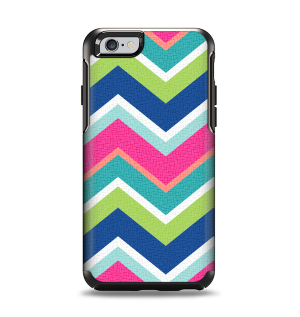 The Vibrant Teal & Colored Layered Chevron V3 Apple iPhone 6 Otterbox Symmetry Case Skin Set