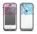 The Vibrant Vintage Polka & Sketch Pink-Blue Floral Apple iPhone 5c LifeProof Nuud Case Skin Set