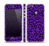 The Vibrant Violet Leopard Print Skin Set for the Apple iPhone 5