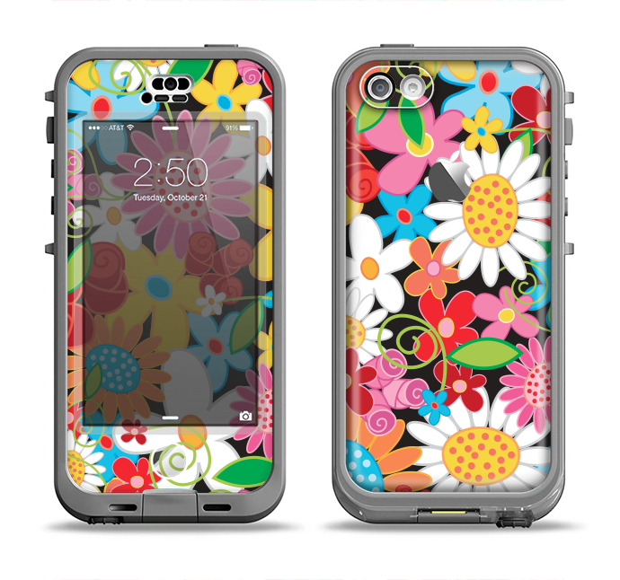 The Vibrant vector Flower Petals Apple iPhone 5c LifeProof Nuud Case Skin Set