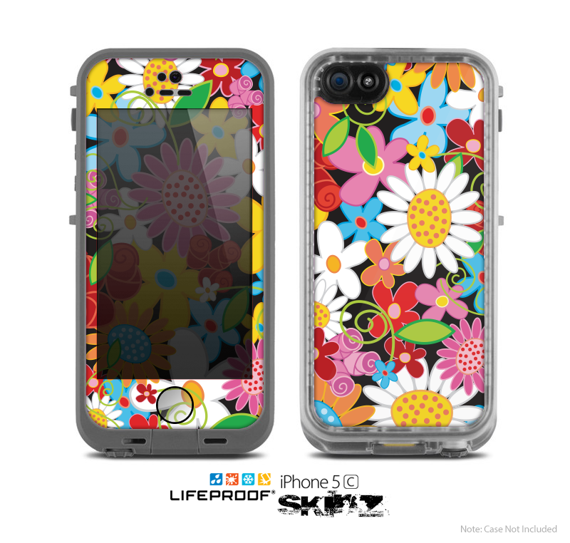 The Vibrant Vector Flower Petals Skin for the Apple iPhone 5c LifeProof Case