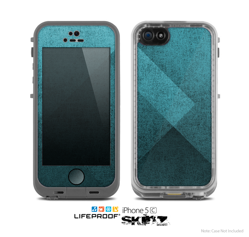 The Vinatge Blue Overlapping Cubes Skin for the Apple iPhone 5c LifeProof Case