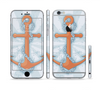 The Vinatge Blue Striped & Chained Anchor Sectioned Skin Series for the Apple iPhone 6 Plus