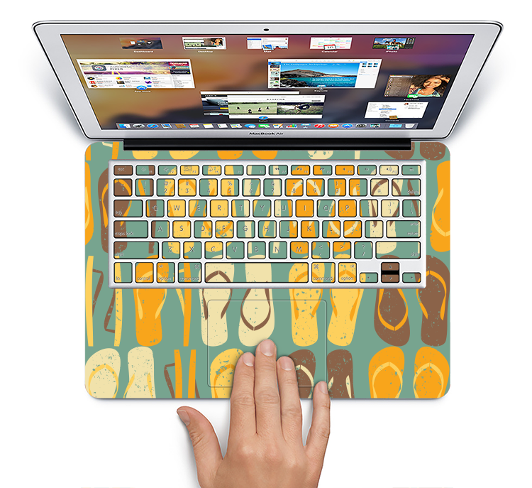 "The Vinatge Blue & Yellow Flip-Flops Skin Set for the Apple MacBook Pro 15"" with Retina Display"