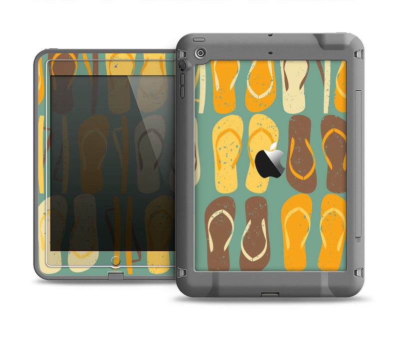 The Vinatge Blue & Yellow Flip-Flops Apple iPad Air LifeProof Fre Case Skin Set