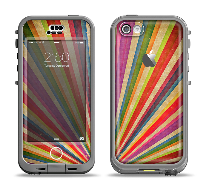 The Vinatge Sprouting Ray of colors Apple iPhone 5c LifeProof Nuud Case Skin Set