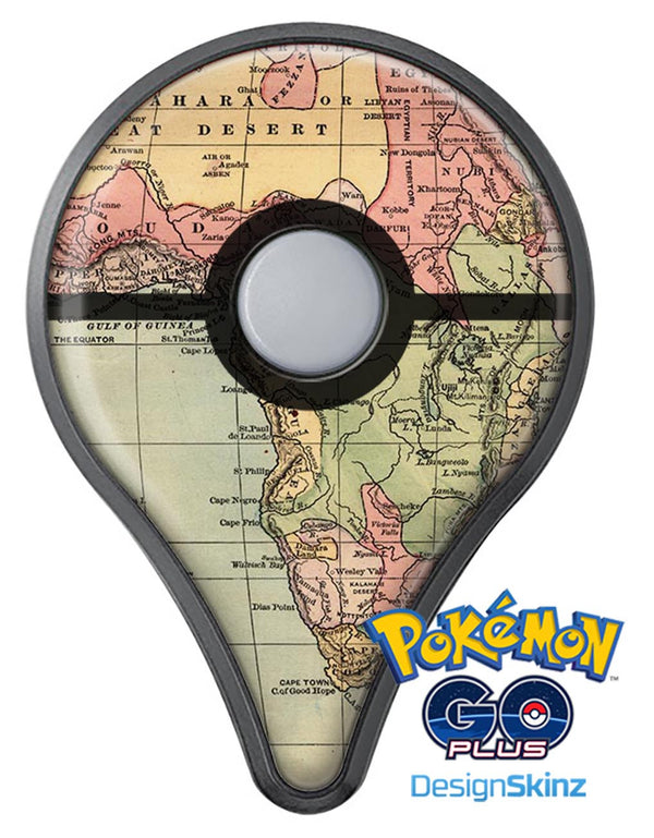 The Vintage African Map Pokémon GO Plus Vinyl Protective Decal Skin Kit