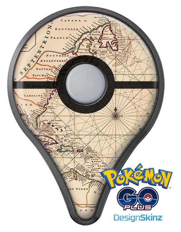 The Vintage Amerique Overview Map Pokémon GO Plus Vinyl Protective Decal Skin Kit