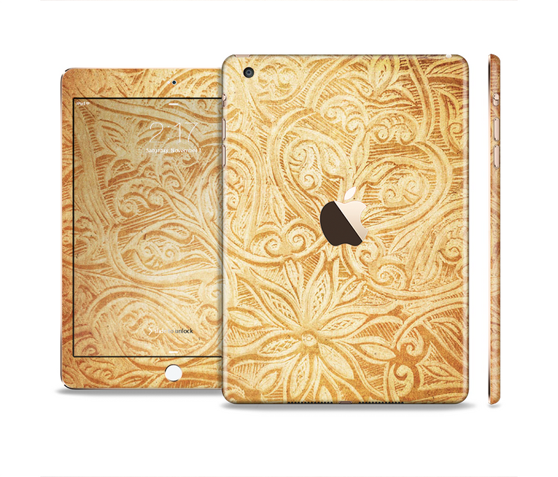 The Vintage Antique Gold Grunge Pattern Full Body Skin Set for the Apple iPad Mini 3