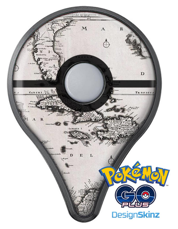The Vintage Black and White Gulf of Mexico Map Pokémon GO Plus Vinyl Protective Decal Skin Kit
