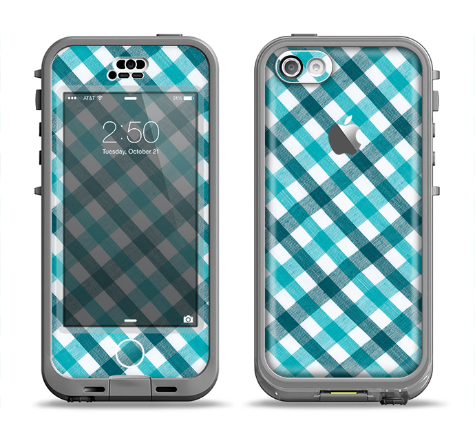 The Vintage Blue & Black Plaid Apple iPhone 5c LifeProof Nuud Case Skin Set