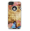 The Vintage Blue Butterfly Background Skin For The iPhone 5-5s Otterbox Commuter Case
