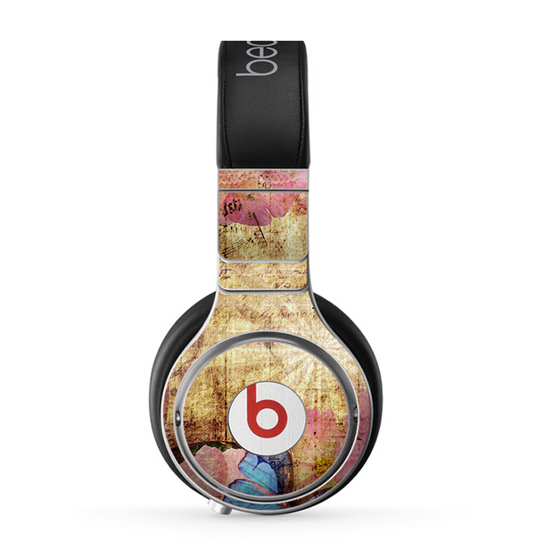 The Vintage Blue Butterfly Background Skin for the Beats by Dre Pro Headphones