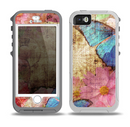 The Vintage Blue Butterfly Background Skin for the iPhone 5-5s OtterBox Preserver WaterProof Case