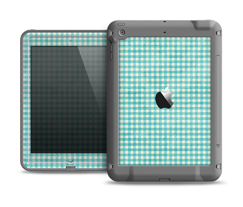 The Vintage Blue Plaid Apple iPad Air LifeProof Fre Case Skin Set