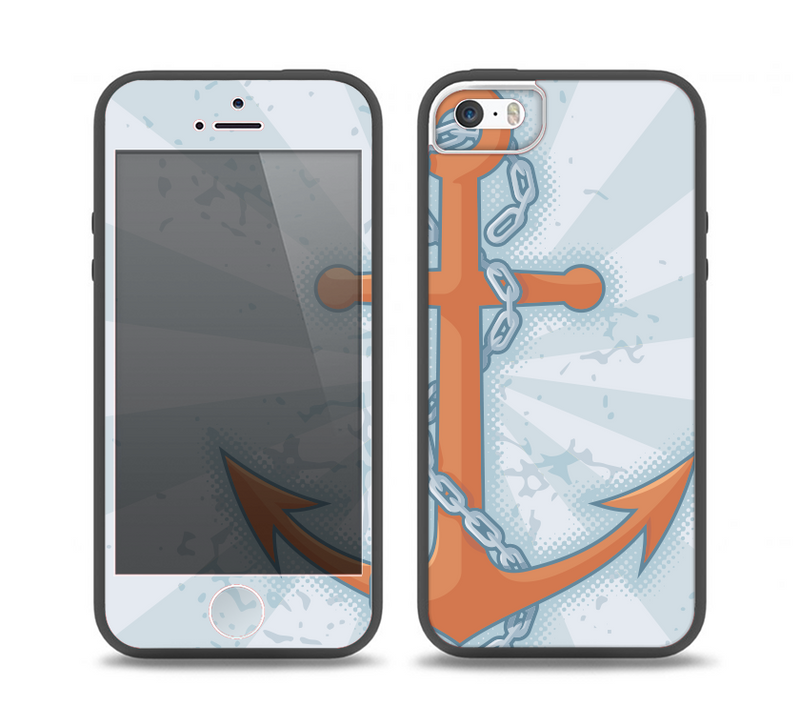 The Vintage Blue Striped & Chained Anchor Skin Set for the iPhone 5-5s Skech Glow Case
