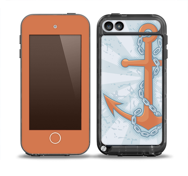 The Vintage Blue Striped & Chained Anchor Skin for the iPod Touch 5th Generation frē LifeProof Case