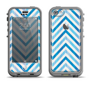 The Vintage Blue Striped Chevron Pattern V4 Apple iPhone 5c LifeProof Nuud Case Skin Set