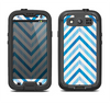 The Vintage Blue Striped Chevron Pattern V4 Samsung Galaxy S3 LifeProof Fre Case Skin Set