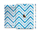 The Vintage Blue Striped Chevron Pattern V4 Full Body Skin Set for the Apple iPad Mini 3