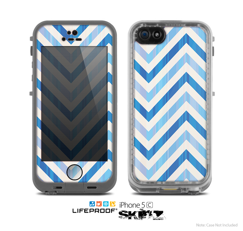 The Vintage Blue Striped Chevron Pattern V4 Skin for the Apple iPhone 5c LifeProof Case