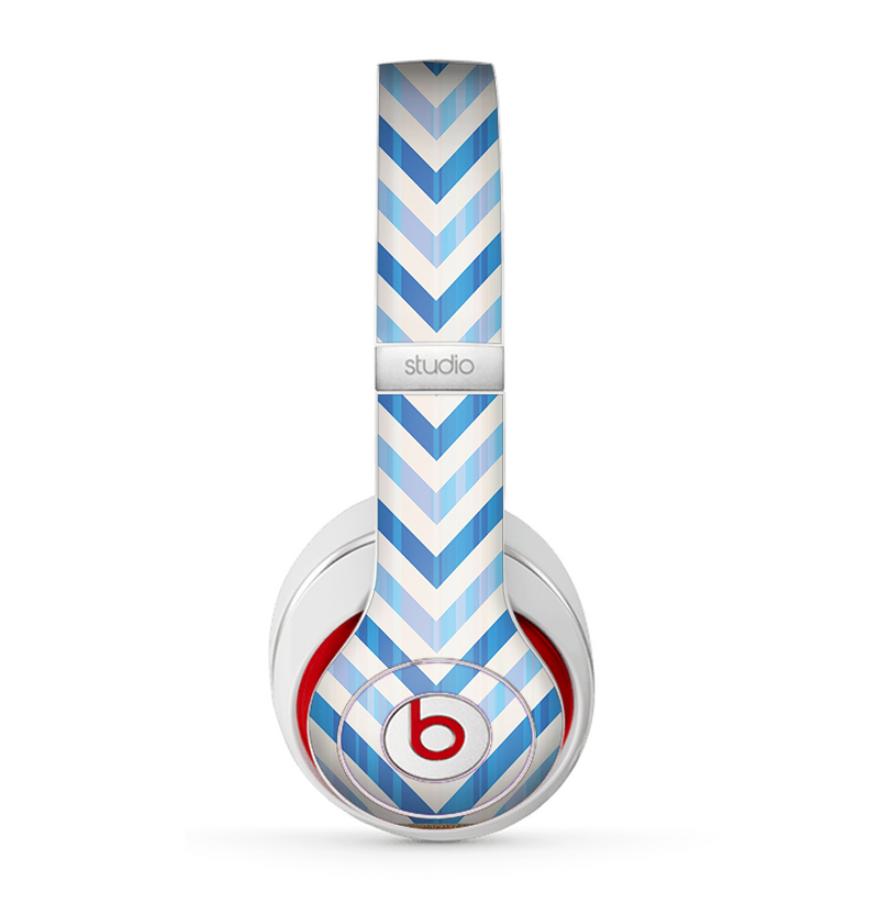 The Vintage Blue Striped Chevron Pattern V4 Skin for the Beats by Dre Studio (2013+ Version) Headphones