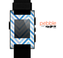 The Vintage Blue Striped Chevron Pattern V4 Skin for the Pebble SmartWatch