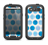 The Vintage Blue Striped Polka Dot Pattern V4 Samsung Galaxy S3 LifeProof Fre Case Skin Set